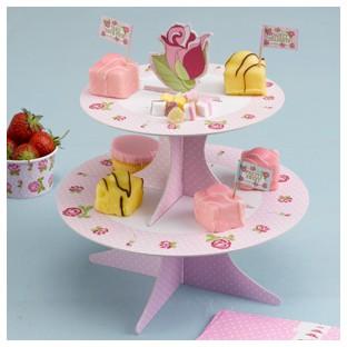Présentoir à cupcakes vintage rose fleuri
