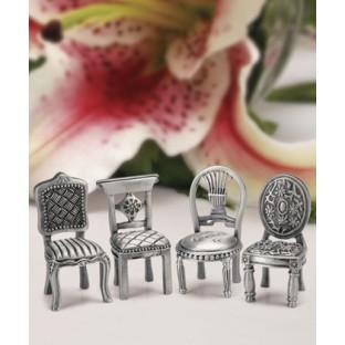 Marque place chaise miniature metal argent