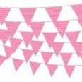 Banderole fanions pois rose soutenu