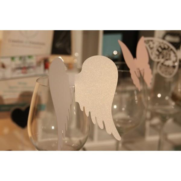 Nominette marque place sur verre ailes d 39 ange d co table Marque de deco