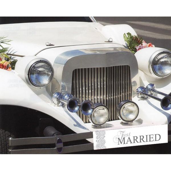 plaque voiture just married blanc et argent just married creative emotions. Black Bedroom Furniture Sets. Home Design Ideas