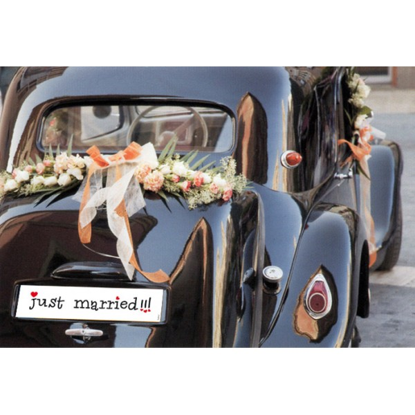 plaque voiture just married comique mariage just married. Black Bedroom Furniture Sets. Home Design Ideas