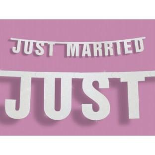 "Guirlande mariage banderole ""Just Married"" blanc pailleté"