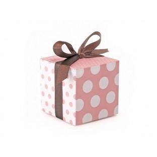 Boites à dragées cubes roses pois blancs