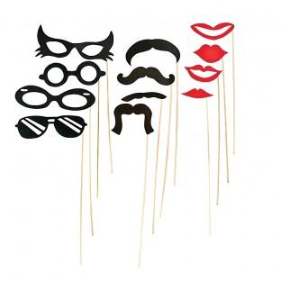 12 accessoires Photobooth bouche, moustache, lunette