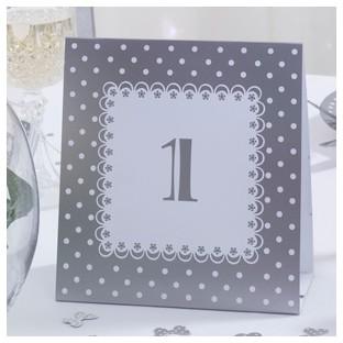 Numéros de table chic boutique blanc gris pois