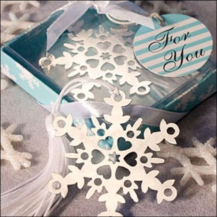 Cadeau Marque page flocon de neige mariage hiver