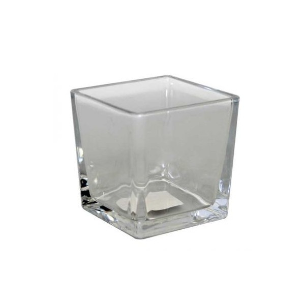 vase cube photophore en verre 6x6cm centre de table. Black Bedroom Furniture Sets. Home Design Ideas