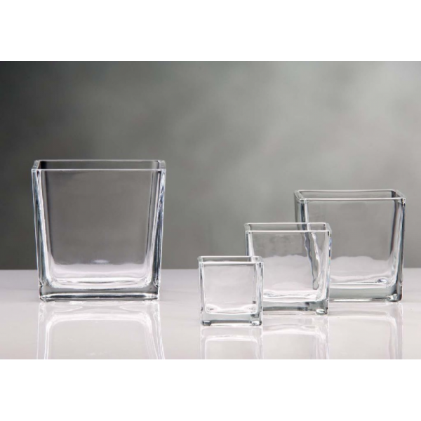 Vase carre transparent - Grand vase en verre transparent ...