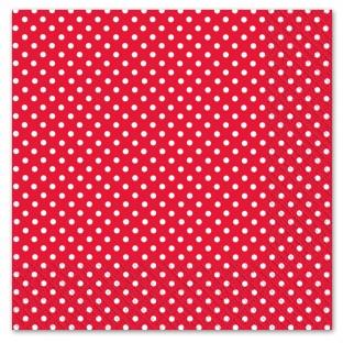 Serviettes papier rouge motif pois (x 20)