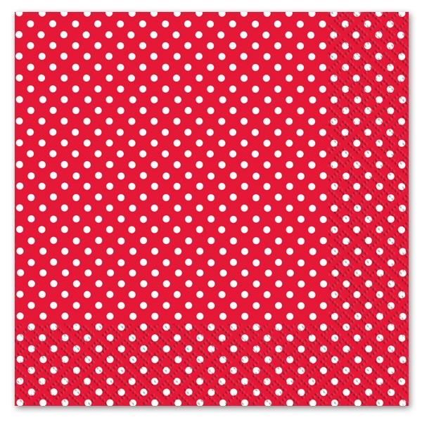 Serviettes papier rouge motif pois x 20 nappages et serviettes creative emotions - Serviette en papier motif ...
