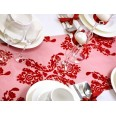 Chemin de table organza rouge vin arabesques