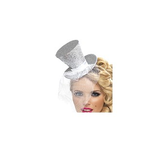 mini chapeau serre t te haut de forme argent great gatsby creative emotions. Black Bedroom Furniture Sets. Home Design Ideas