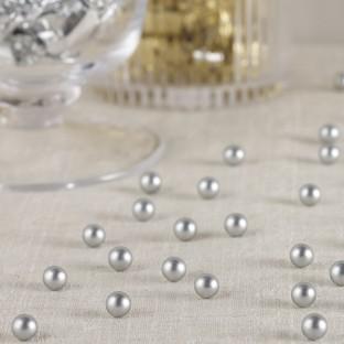 Perles à parsemer déco de table argent mat