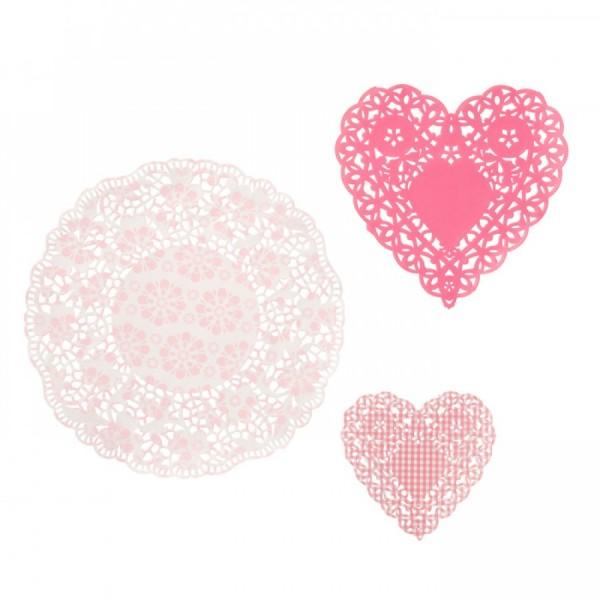 30 napperons dentelle doily rose et rose poudre d co table mariage creative emotions - Deco mariage rose poudre ...