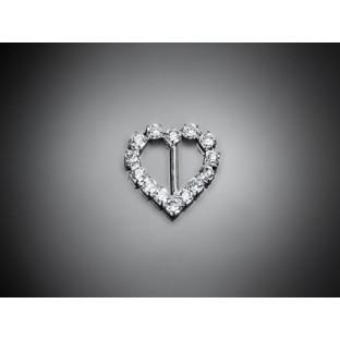 2 petites boucle attache strass diamant coeur breloque