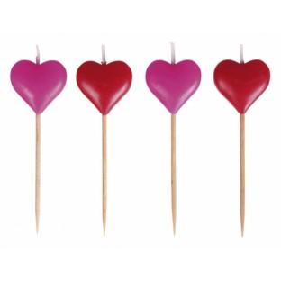 8 bougies coeur rose et rouge