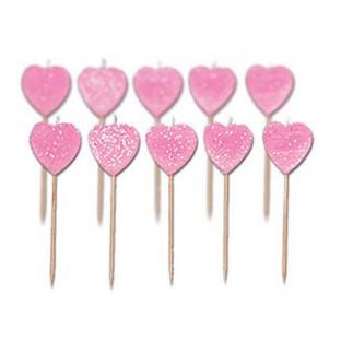 10 bougies coeur rose pailleté