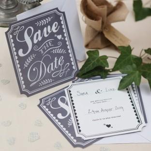 """Carte de mariage vintage """"Save the date"""""""