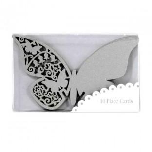Marque place grand papillon dentelle gris argent