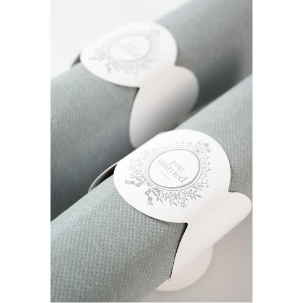 rond de serviette mariage just married x6 just married creative emotions. Black Bedroom Furniture Sets. Home Design Ideas