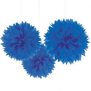 Deco 3 pompons en papier, bleu roi