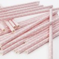 Pailles décoratives papier roses à pois (x25)