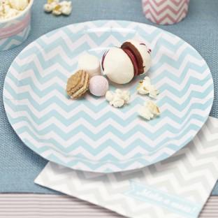 8 assiettes jetables motif chevron pastel