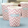 8 gobelets carton chevron rose table anniversaire