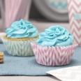 50 caissettes à cupcakes chevron bicolore