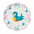 8 assiettes baby on board oiseau pastel