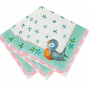 20 serviettes baby on board oiseau pastel