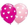 Ballons motifs coeurs rose clair et fuchsia  (x 6)