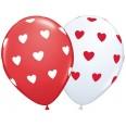 Ballons latex motifs coeurs rouge blanc (x 5)