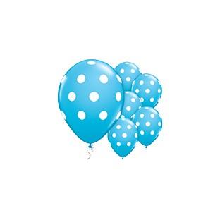 5 ballons latex bleu à pois blancs