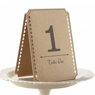 Numéros de table vintage kraft 1-12
