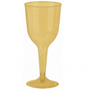20 Verres à vin dorés pied en plastique 295ml