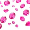 Perles Diamant confettis de table rose fuchsia mix 6-12mm