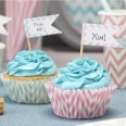 15 Piques drapeau chevron deco cupcake