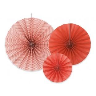 3 rosaces rouge en papier deco a suspendre