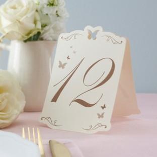 Numéros de table papillon ivoire et doré 1-12