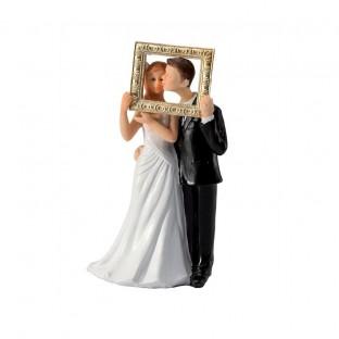 Figurine couple de mariés cadre photo