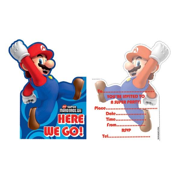 6 Cartes D Invitation Anniversaire Mario Bros Super Mario Bros