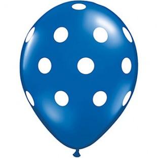 5 ballons latex bleu marine à pois blancs