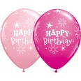 Ballons Happy Birthday rose et fuchsia (x 5)