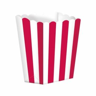 Pots à popcorn rayures blanc et rouge (x 5)
