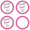 Etiquettes rondes candy bar rose vif