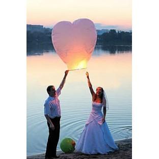Lanterne géante volante coeur blanc H90cm