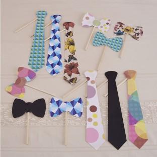 12 accessoires photobooth noeud papillon cravate