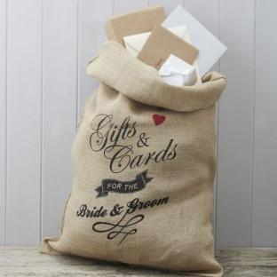 Le sac en toile de jute, urne mariage